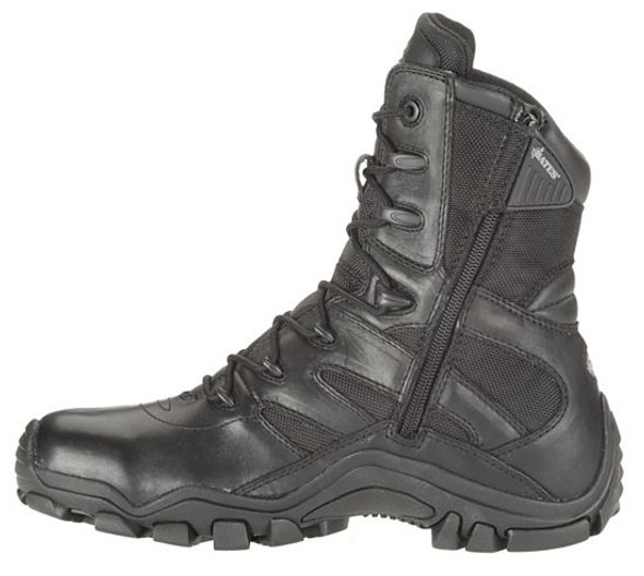 "Bates E02348 Black 8"" Leather Side Zip Boots"