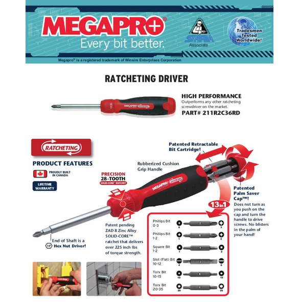 Megapro 211R2C36RD Ratcheting Screwdriver - 13 in 1