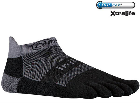 Injinji RUN 2.0 Midweight No-Show Socks Gray/Black