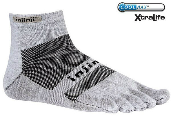 Injinji RUN 2.0 Lightweight Mini-Crew Gray