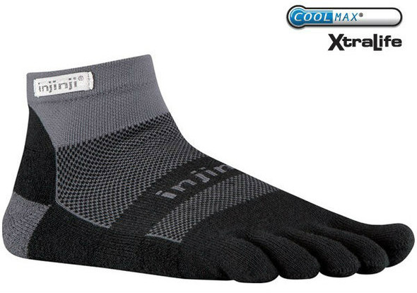 Injinji RUN 2.0 Original Weight Mini-Crew Gray/Black
