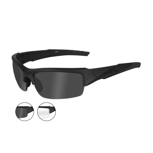 Wiley X CHVAL07 Valor Smoke Grey/Clear Lenses Matte Blk Frame Ballistic Sunglasses