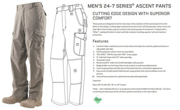 Tru-Spec 24-7 Mens Ascent 65/35 Poly/Cotton Micro RipStop Pants -Multiple Colors