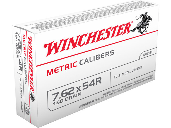 Winchester Metric 7.62x54mm 180gr FMJ Ammunition 20rd