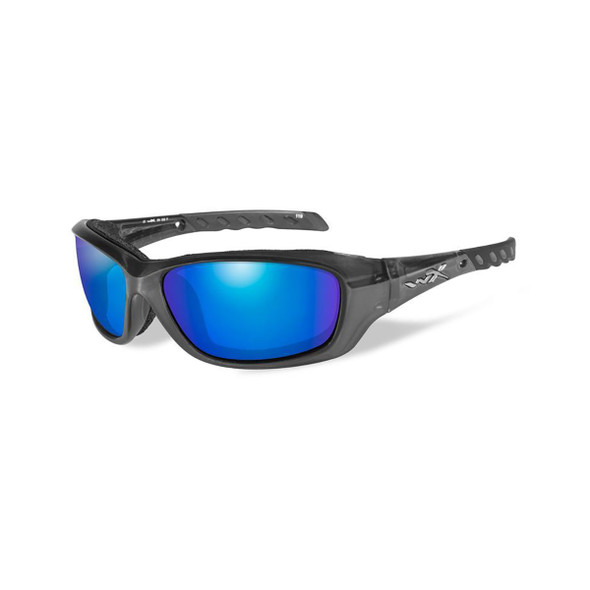 Wiley X CCGRA04 Gravity Blue Mirror Lens/Black Crystal Frame Ballistic Sunglasses