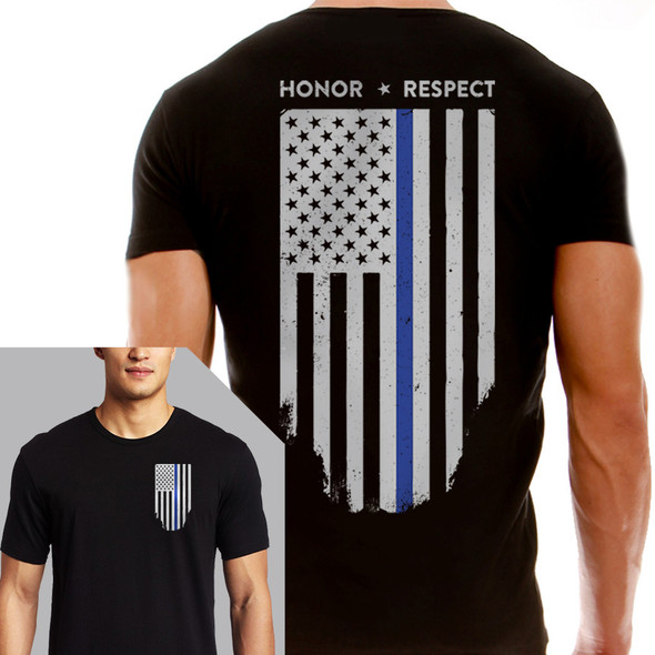 Thin Blue Line Men's Black Flag Short Sleeve T-Shirt