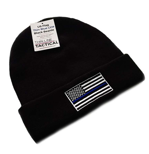 Thin Blue Line Flag Black Beanie
