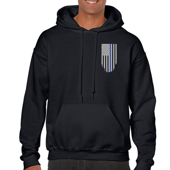 Thin Blue Line American Flag Honor & Respect Hoodies