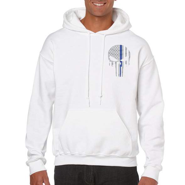 Thin Blue Line Skull Hoodies