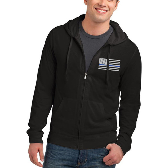 Thin Blue Line American Flag Full Zip Hoodies