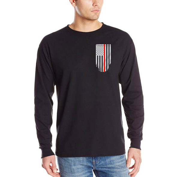 Thin Red Line Flag Long Sleeve Black T-Shirts