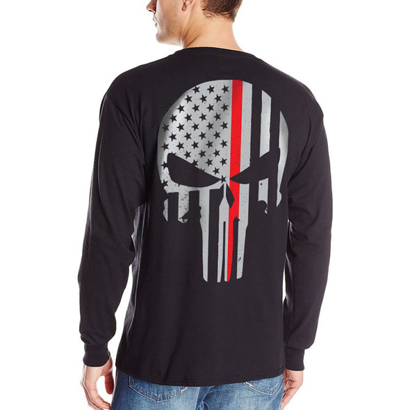 Thin Red Line Skull Long Sleeve Black T-Shirts