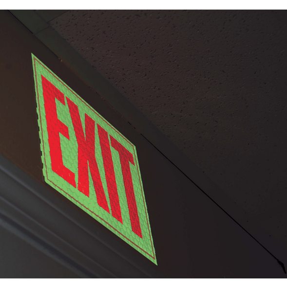 Cyalume Cyflect Exit Sign w/ Adhesive Backing Glows and Reflects