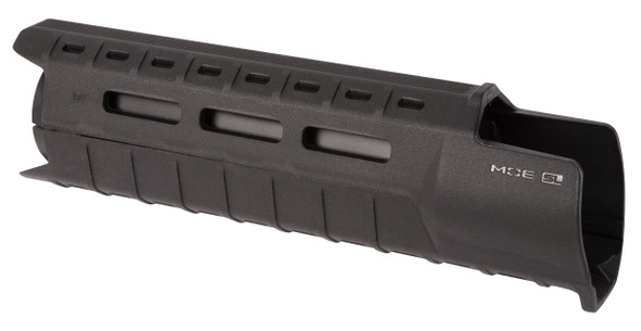 Made in the USA, the MOE SL Hand Guard for AR15/M4 firearms with carbine-length gas system and A2 front sight provides modular flexibility with M-LOK accessory slots in a lightweight, sleek, cost effective design. Reinforced, heat-resistant polymer construction provides operational durability without the weight and expense of an aluminum rail hand guard, integral riveted aluminum heat shield. M-LOK slots at the two, six and ten o'clock positions allow the attachment of optional Picatinny rail sections and other direct attach M-LOK accessories for the mounting of tactical lights, slings, grips, etc. A large front extension and lower lip protects the user from the hot front sight assembly and maximizes useable hand guard length. Easy to install utilizing existing delta ring and round front hand guard retaining cap with A2 front sight assembly*. Note- the MOE SL Hand Guard Carbine-Length is a direct replacement for M4 Carbine-type plastic, two-piece hand guards and utilizes the existing round front hand guard retaining cap and rear spring-loaded delta ring. Not compatible with piston operated AR platforms. Must be used with the triangular A2 front sight assembly, other gas blocks are not compatible. Factory sling swivel is not compatible and, if equipped, must be removed from the A2 front sight assembly.