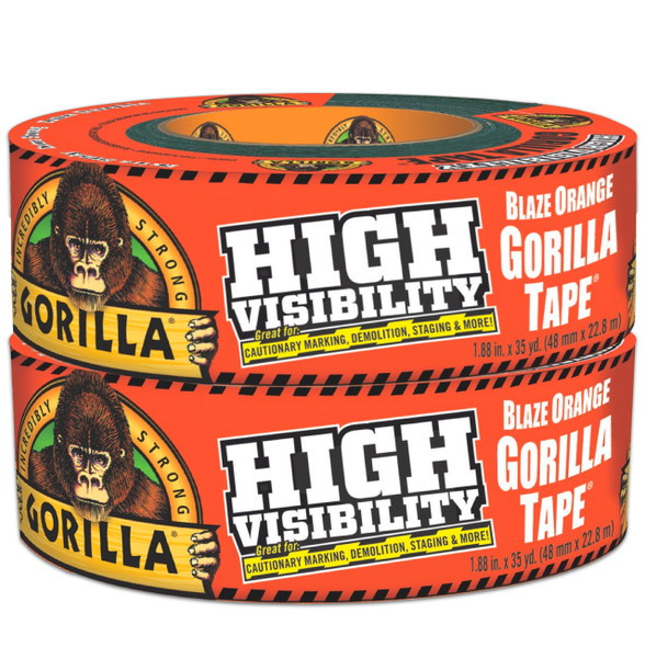 "Gorilla Duct Tape 1.88"" x 35 Yard 2/Pack HI-VIS ORANGE"