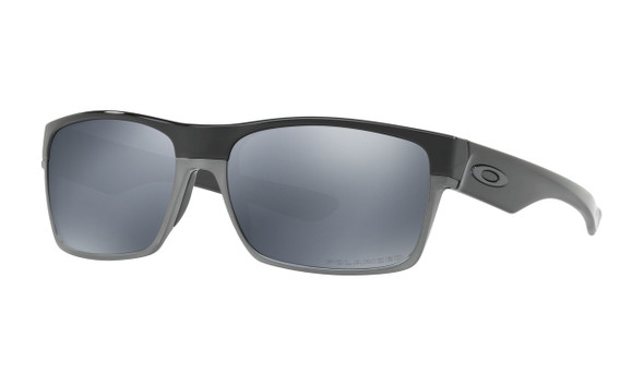 Oakley Men's Two Face Polished Black Frame Black Iridium Polarized Lenses