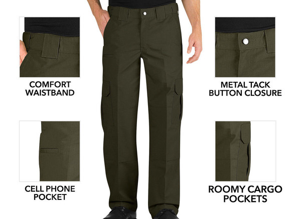 Dickies LP703 Relaxed Fit Lightweight Ripstop 65/35 Polyester/Cotton Tactical Green Pants