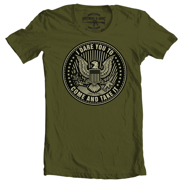 Brothers & Arms USA 100% Ring-Spun Cotton I Dare You T-Shirt, Military Green