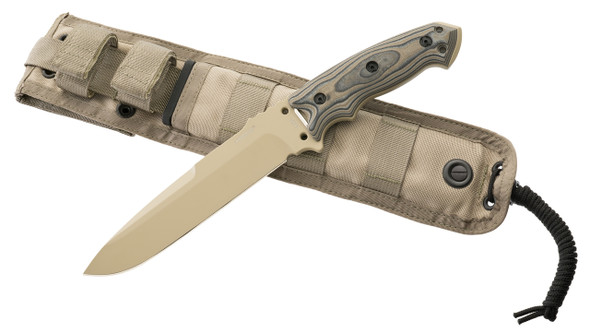 "Hogue EX-F01 A2 Tool Steel 7"" Fixed Tanto Blade Knife Tan"