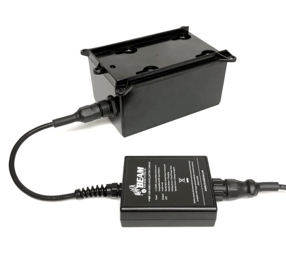 Maxa Beam Multi-Voltage Smart Charger with 100-240VAC supply and 12VDC vehicle adapter