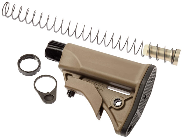 The LWRC UCIW (Ultra-Compact Individual Weapon) stock system shortens the overall length of the firearm by a full inch as compared to a standard AR-15 collapsible stock assembly. This stock kit includes a compact receiver extension buffer tube, receiver end plate, shortened recoil buffer, recoil spring and castle nut. The system's components were designed to work together and should be installed together for reliable performance. The stock is lightweight and features integral sling attachment points, easy one-hand adjustments and an excellent cheekweld. The rubber buttpad prevents slippage during firing. The receiver extension has four positions to adjust the length of pull.