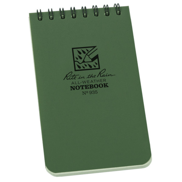 "Rite In The Rain Top Spiral 3""x5"" Pocket Notebook, Green"