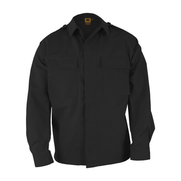Propper F545238001 BDU 65/35 Poly/Cotton Ripstop Long Sleeve 2-Pocket Shirt, Black