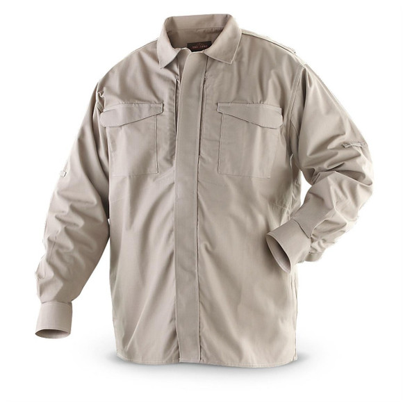 Tru-Spec 1055 Men's 24-7 Men's Ultralight Long Sleeve Uniform Shirts, Khaki