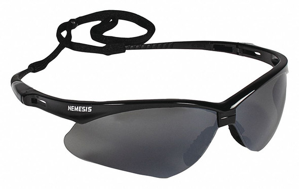 KleenGuard™ Personal Protective Equipment (PPE) enables rather than inhibits – allowing for maximum productivity and safety for you and your employees. Giving your employees what they need to do their job safely and effectively is a top priority of any business owner. KleenGuard™ Nemesis Safety Eyewear's stylish good looks and durable, lightweight construction are just some of the reasons why millions of people wear them for protection both at work and at home. Nemesis Safety Glasses have polycarbonate lenses that provide 99.9% UVA/ UVB/UVC protection to help prevent eye damage like cataracts, retinal damage, and other conditions that can cause temporary vision loss. The wraparound frame has a base curve of 8 that extends the range of peripheral protection, as well as soft touch temples for comfort. The Nemesis safety glasses have a patented nose piece designed to be extremely flexible, to channel sweat away from the eyes, and to help prevent slippage down the nose – all for long-term comfort. Each pair of KleenGuard™ Nemesis safety glasses come with a neck cord for securing them, so that the glasses are ready to protect at a moment's notice. The safety eyewear is manufactured to comply with the ANSI / ISEA Z87.1+ standard for personal eye protection. Both men and women will find these stylish glasses to be comfortable and functional for construction, manufacturing, gun shooting / shooting range, and a host of other industries. Remember: comfort and style drive compliance, so it pays to provide comfortable designer glasses that your staff will be proud to wear. Making the right Personal Protection choice is difficult. Perform with distinction with KleenGuard™ Personal Protective Equipment (PPE).  These KleenGuard™ Nemesis Safety Glasses (safety sunglasses) have a black frame and smoke anti-fog lenses for outdoor use: smoke anti-fog lenses are ideal for bright, sunny days to provide glare reduction, even when you are moving between hot, cold, and humid environments K
