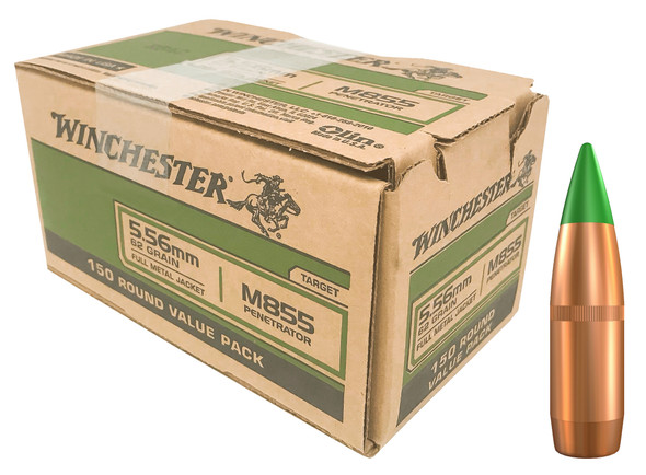 Winchester M855 5.56mm 62GR Green Tip  Ammunition 150rds