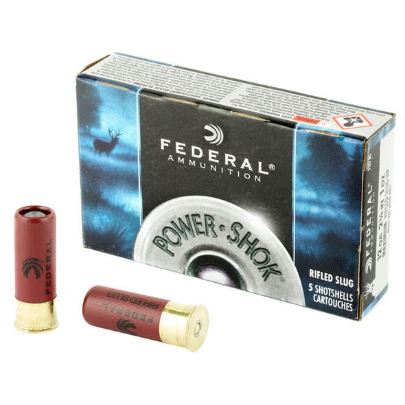 "Federal PowerShok 12GA 2.75"" Rifled Slug Ammunition 5rd"