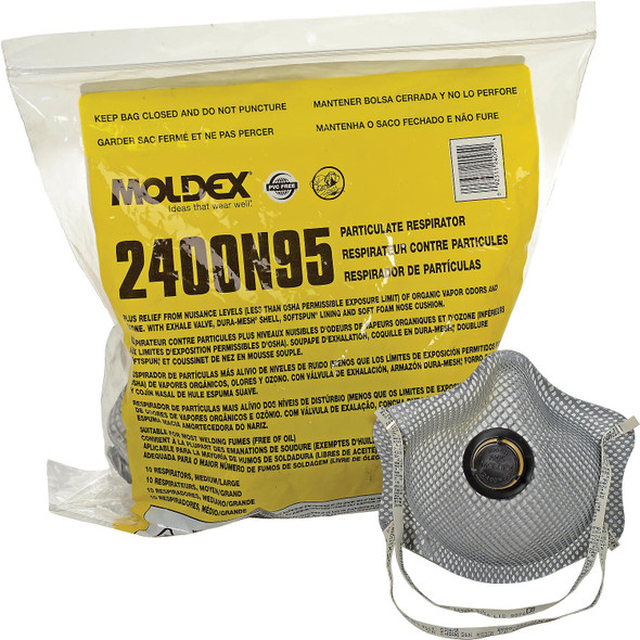 Moldex 2400 N95 Plus Particulate Respirator With Exhale Valve 10/Pack