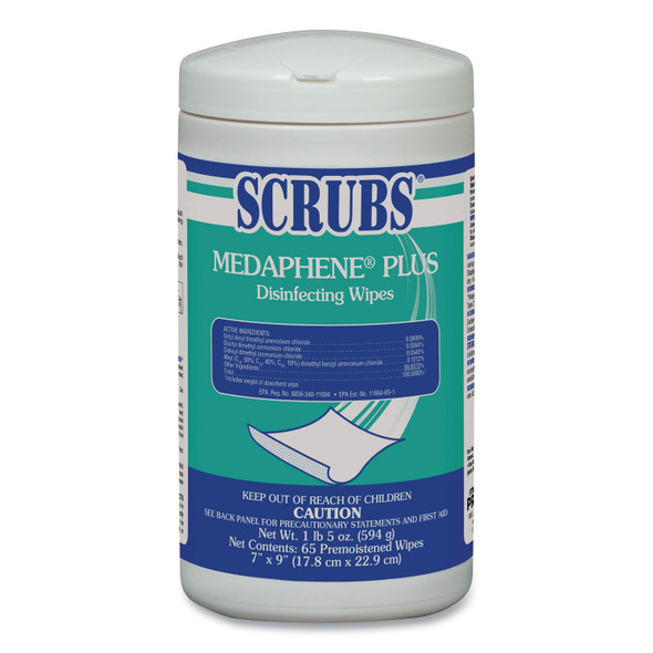 SCRUBS MEDAPHENE Plus Alcohol-Free Citrus Scented Disinfecting 65 Wipes