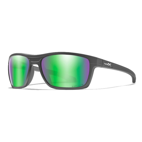 Wiley X Kingpin Captivate Polarized Green Mirror Lens/Matte Black Sunglasses