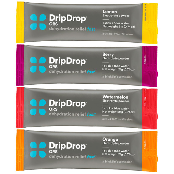 DripDrop ORS Medical Grade Dehydration Relief 12/Pack W/ Brunton Aluminum Water Bottle 12oz