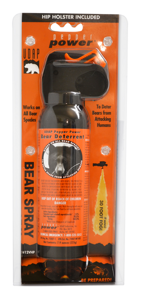 UDAP 12VHP Bear Spray w/Holster OC Pepper 30ft Range