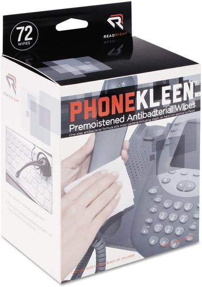 Read Right PhoneKleen Germicidal Wet Wipes, Cloth, 5 x 5, 72/Box