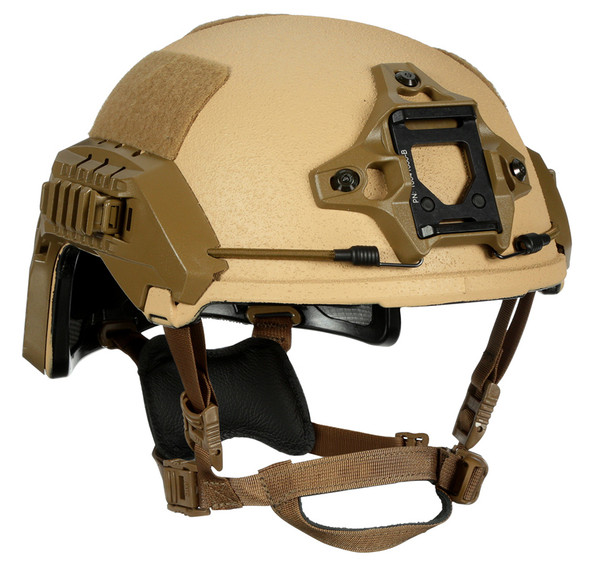 The N49-Ultra-Light Weight Ballistic Bump Helmet provides ballistic protection at the weight and comfort of a bump helmet. The advanced design has boltless retention, available in dial, or x-back as well as no thru bolt rails which provide consistent ballistic protection from the shell. Designed with (UHMWPE) ballistic material at shell weight of just over 1 pound while featuring ballistic and blunt impact protection. The N49 comes standard with NVG mount, rails, bungees, exterior loop set and D3O Trust Stealth suspension. The comfort and wearability afforded by the light weight are paired with the high-cut design to allow easy integration with communication, hearing protection, gas masks and goggles.