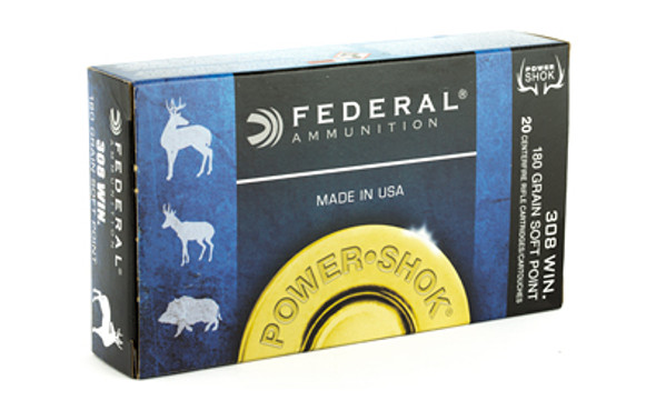 Federal Power-Shok 308 Winchester 180GR JSP Ammunition 20 Rounds