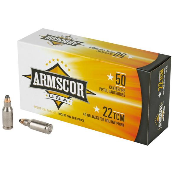 Armscor 22TCM 40GR JHP Ammunition 50 Rounds