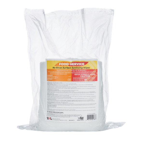 2XL No Rinse Food Service Grade Sanitizing 8x6 Wipes 500/Count