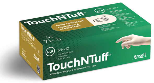 Ansell TouchNTuff Disposable Latex Gloves Large 100 Pack