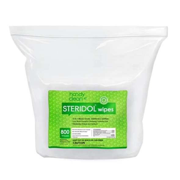 Steridol 3 In 1 Hospital Grade Disinfecting & Sanitizing Odor Eliminating Scrub Wipes Bulk Bag 800/Wipes 2/Pack