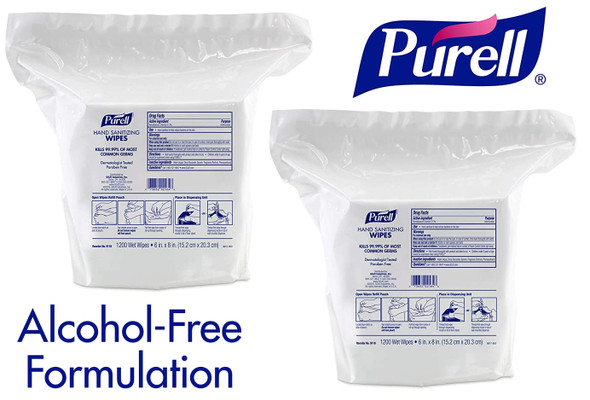"PURELL Alcohol Free Hand Sanitizing 6""x8"" Wipes 1200 Count 2/Pack"