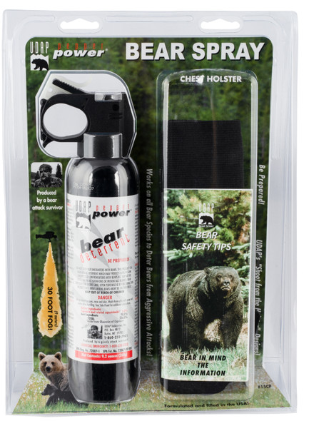 UDAP 15CP Magnum 9.2oz Bear Spray w/Chest Holster 260gr OC Pepper 35ft Range