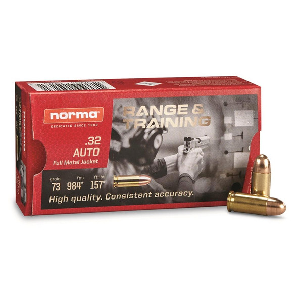 Norma .32 Auto 73gr FMJ Ammunition 50rd