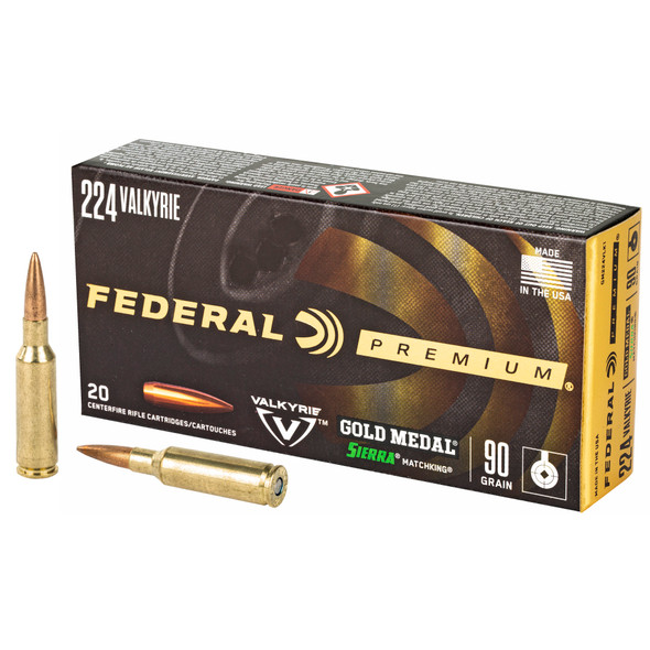 Federal Gold Medal 224 Valkyrie 90GR BTHP Ammunition 20 Rounds