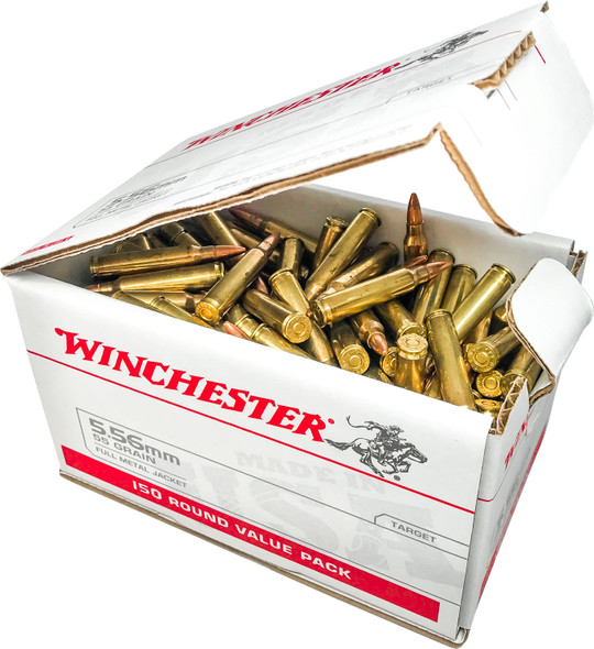 Winchester 5.56x45mm NATO 55GR FMJ Ammunition 150 Rounds