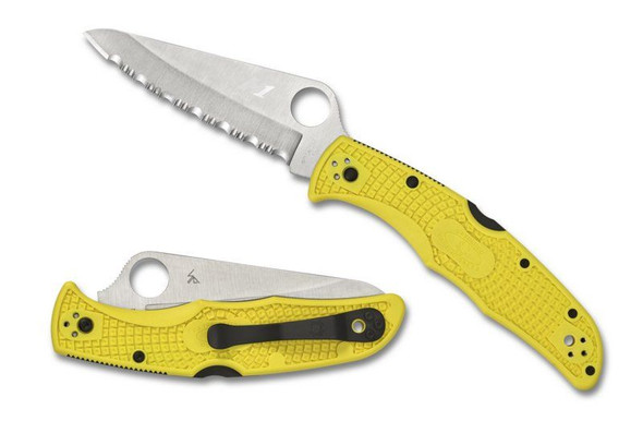 Spyderco C91PYL2 Pacific Salt 2 FRN Plain Edge Folding Knife Yellow