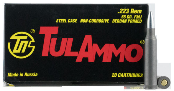 Tulammo TA223550 Rifle 223 Rem 55 gr Full Metal Jacket (FMJ) 20 Bx